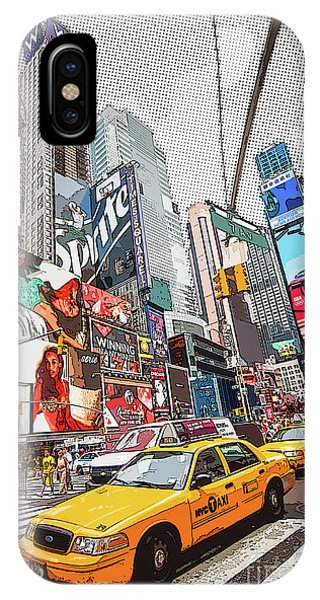 New York City Taxi iPhone Case - Times Square Pop Art by Delphimages Photo Creations