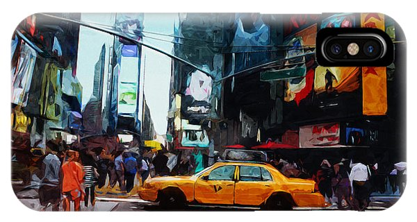 Times Square iPhone Case - Times Square Taxi- Art By Linda Woods by Linda Woods