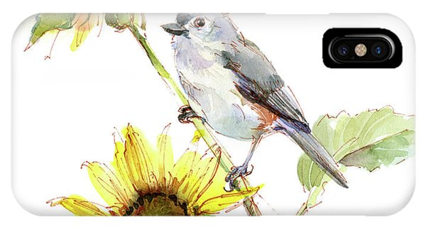 Titmouse iPhone Case - Titmouse With Sunflower by John Keeling