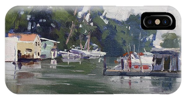 Yard iPhone Case - Today's Plein Air Workshop Demonstration At Wardell Boat Yard by Ylli Haruni