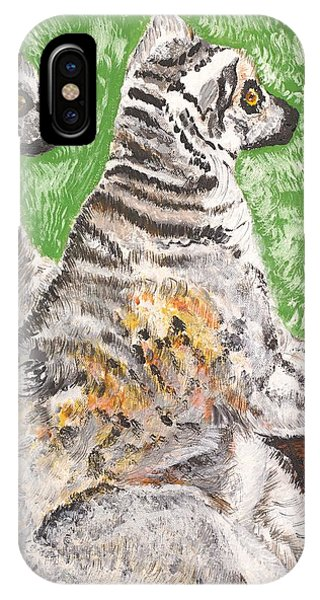 Ring-tailed Lemur iPhone Case - Together by Valerie Ornstein