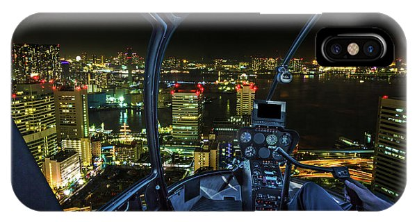 Odaiba iPhone Case - Tokyo Cityscape Helicopter by Benny Marty
