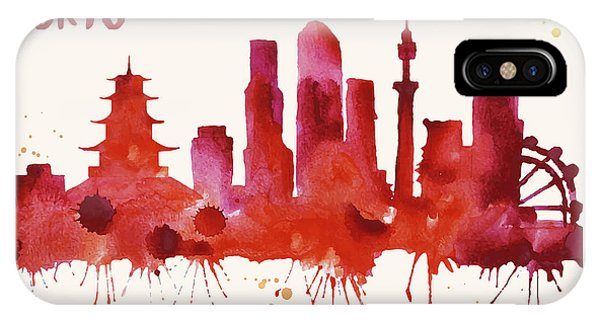 Tokyo Skyline Watercolor Poster - Cityscape Painting Artwork IPhone Case