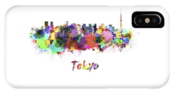 Tokyo V2 Skyline In Watercolor IPhone Case