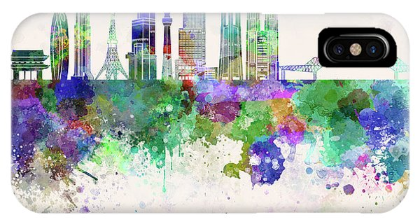 Tokyo V3 Skyline In Watercolor Background IPhone Case