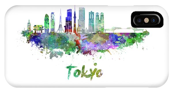 Tokyo V3 Skyline In Watercolor IPhone Case