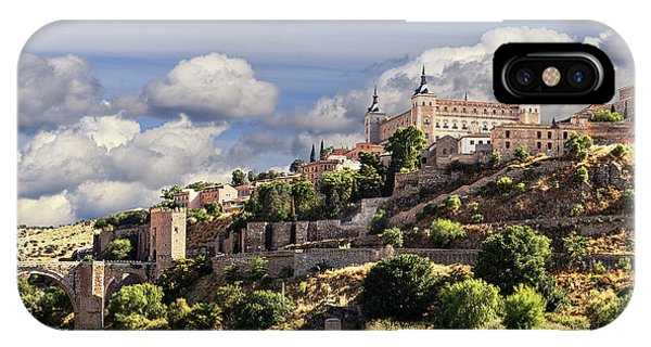 Toledo. Majestic Stone Fortress The Alcazar Is Visible From Any Part Of The City IPhone Case