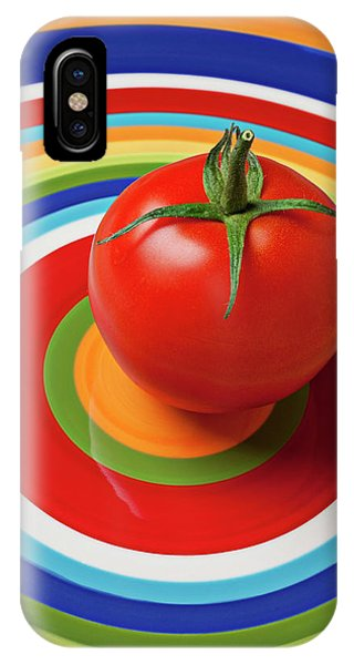 Vegetables iPhone Case - Tomato On Plate With Circles by Garry Gay