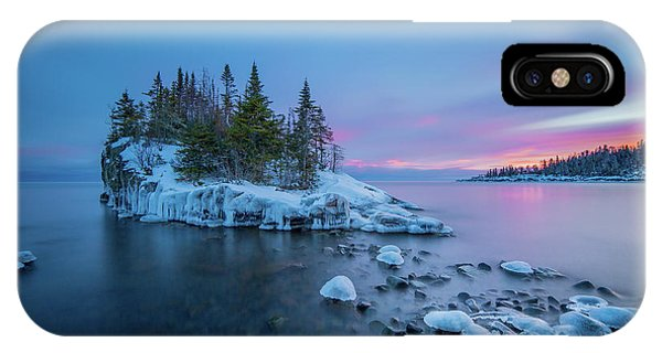 Tombolo Sunset // North Shore, Lake Superior  IPhone Case
