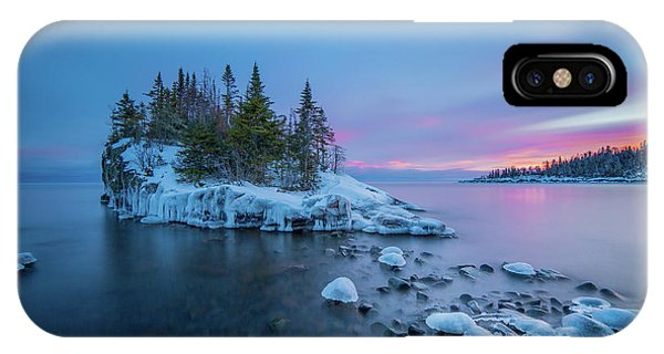 Tombolo Sunset // North Shore, Lake Superior  IPhone Case