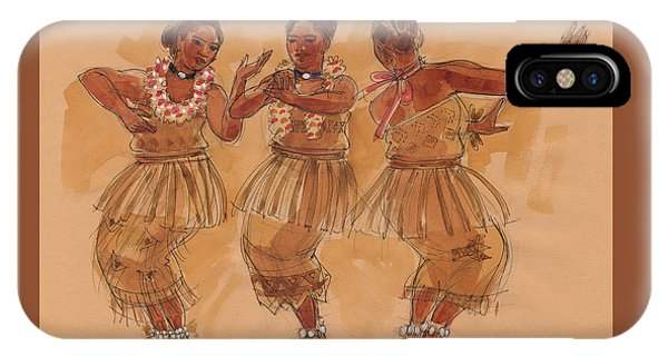 IPhone Case featuring the painting Tonga Dance From Niuafo'ou by Judith Kunzle