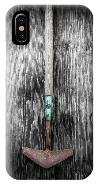 Farm Tool iPhone Case - Tools On Wood 5 On Bw by YoPedro