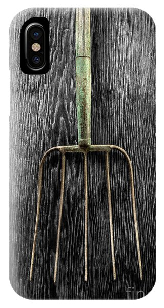 Farm Tool iPhone Case - Tools On Wood 7 On Bw by YoPedro