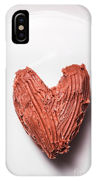 Dinner iPhone Case - Top View Of Heart Shaped Chocolate Fudge by Jorgo Photography - Wall Art Gallery