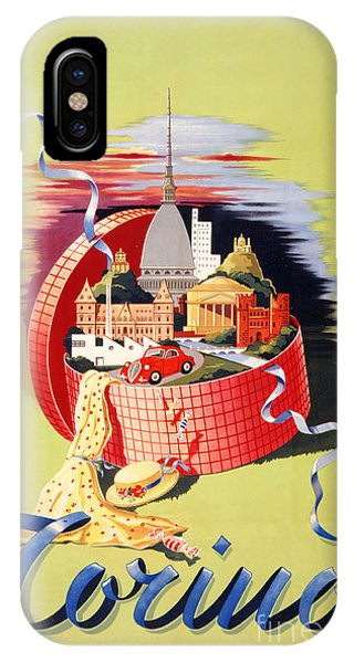 Torino Turin Italy Vintage Travel Poster Restored IPhone Case