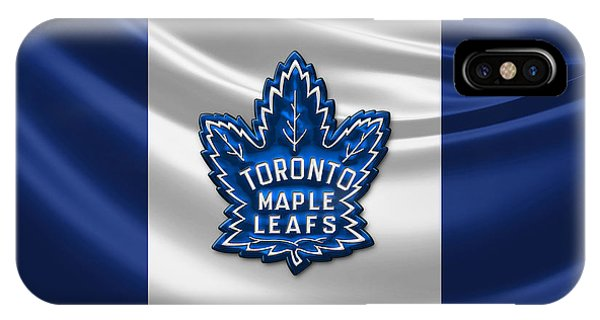 Sports iPhone Case - Toronto Maple Leafs - 3d Badge Over Flag by Serge Averbukh