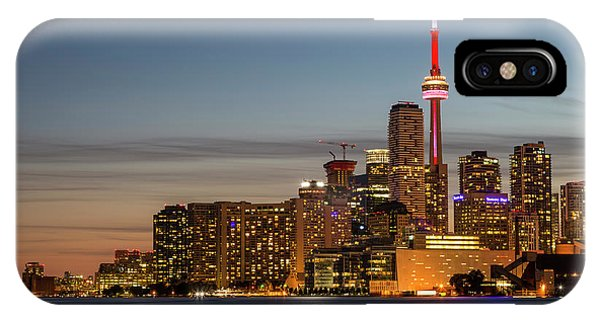 IPhone Case featuring the photograph Toronto Skyline At Dusk by Adam Romanowicz