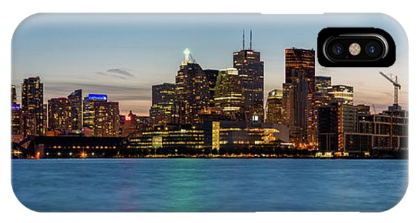 IPhone Case featuring the photograph Toronto Skyline At Dusk Panoramic by Adam Romanowicz