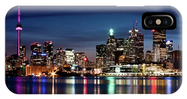 Toronto Skyline At Night From Polson St No 2 IPhone Case
