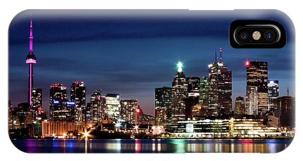 IPhone Case featuring the photograph Toronto Skyline At Night From Polson St No 2 by Brian Carson