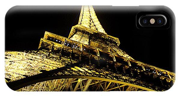 Tour Eiffel - La Nuit Par Le Bas IPhone Case