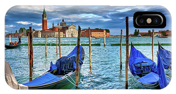 Gondolas And San Giorgio Di Maggiore In Venice, Italy IPhone Case