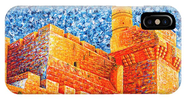 IPhone Case featuring the painting Tower Of David At Night Jerusalem Original Palette Knife Painting by Georgeta Blanaru