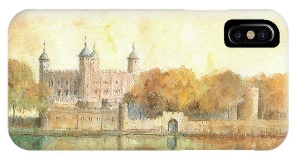 London iPhone Case - Tower Of London Watercolor by Juan Bosco