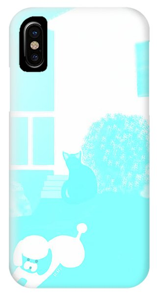 Toy Poodle Louie And Black Cat Jessica In The Yard IPhone Case