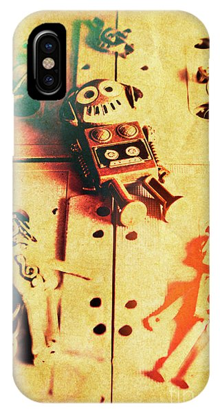 Robot iPhone Case - Toy Robots On Vintage Cassettes by Jorgo Photography - Wall Art Gallery