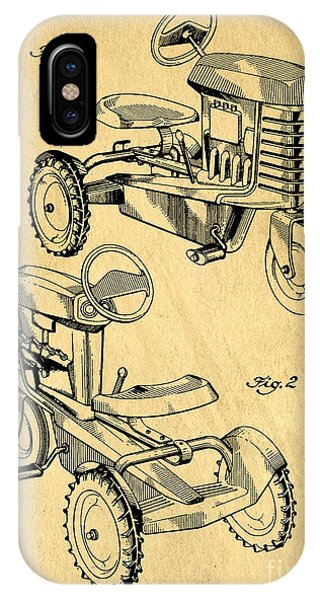 New England Barn iPhone Case - Toy Tractor Patent Drawing by Edward Fielding
