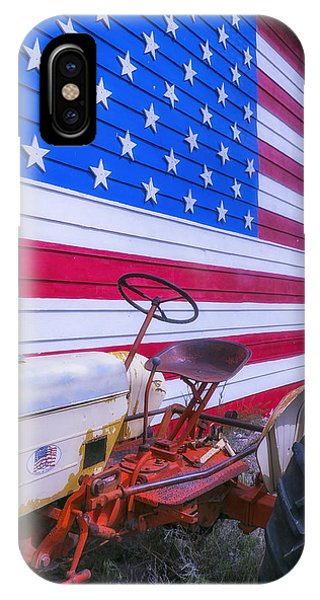 Patriotic iPhone Case - Tractor And Large Flag by Garry Gay