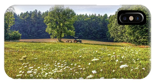 Tractor In Field With Flowers IPhone Case