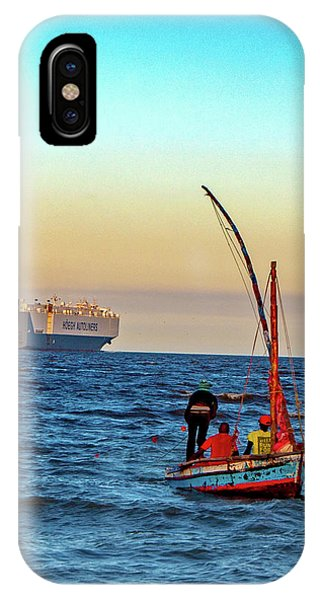 Traditional Fishing And The Container Ship IPhone Case