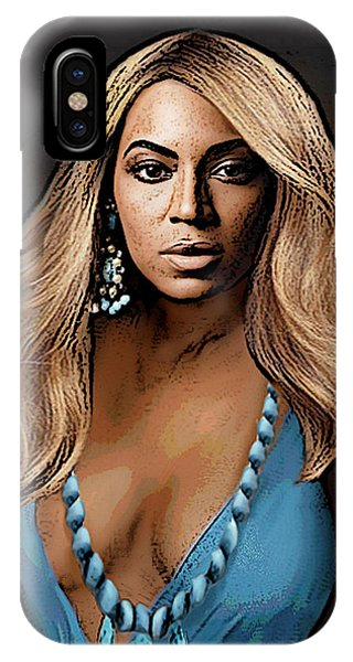Traditional Modern Original Painting Beyonce In Turquoise IPhone Case