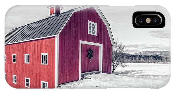 New England Barn iPhone Case - Traditional New England Red Barn In Winter Landscape by Edward Fielding