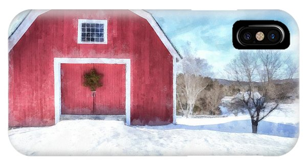 Barn Snow iPhone Case - Traditional New England Red Barn In Winter Watercolor by Edward Fielding