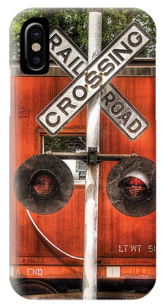 Red Caboose iPhone Case - Train - Yard - Railroad Crossing by Mike Savad