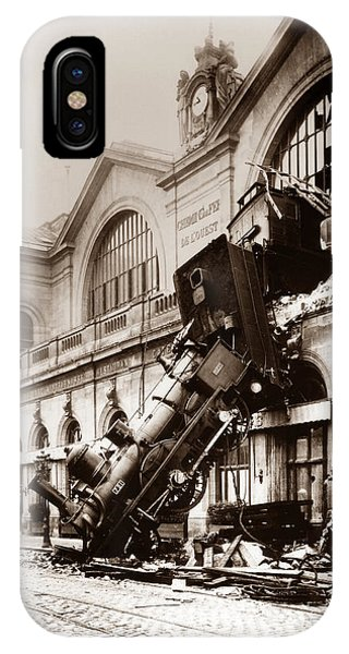 Wreck iPhone Case - Train Derailment At Montparnasse Station - 1895 by War Is Hell Store