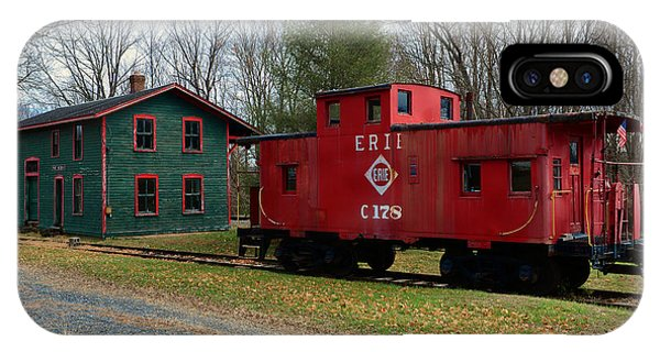 Red Caboose iPhone Case - Train - Erie Rr Line Caboose by Paul Ward