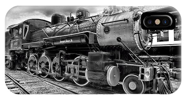 Train - Steam Engine Locomotive 385 In Black And White IPhone Case