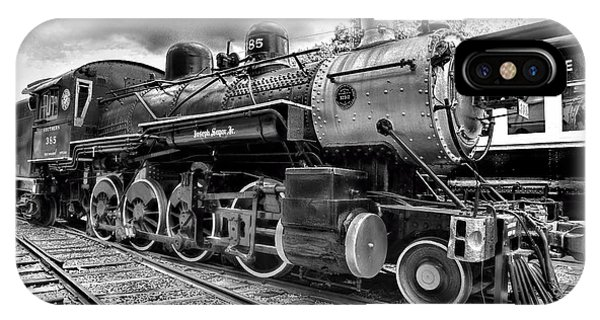 Train iPhone X Case - Train - Steam Engine Locomotive 385 In Black And White by Paul Ward