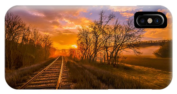 Train Track Sunrise IPhone Case