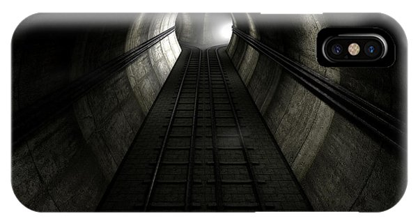Bricks iPhone Case - Train Tracks And Approaching Train by Allan Swart