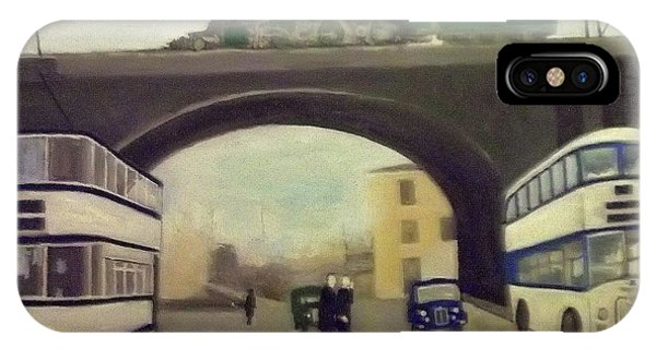 1950s Tram, Locomotive, Bus And Cars In Sheffield  IPhone Case