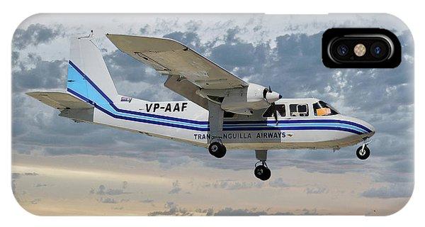 Islanders iPhone Case - Trans Anguilla Airways Britten-norman Bn-2b-21 Islander 114 by Smart Aviation
