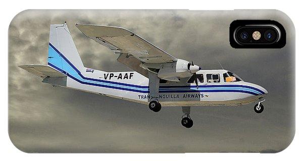 Islanders iPhone Case - Trans Anguilla Airways Britten-norman Bn-2b-21 Islander 116 by Smart Aviation