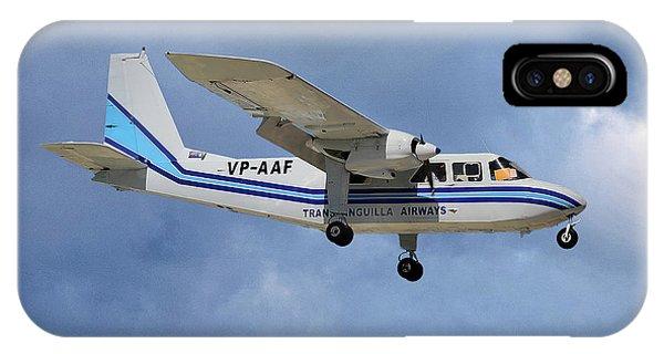 Islanders iPhone Case - Trans Anguilla Airways Britten-norman Bn-2b-21 Islander 117 by Smart Aviation