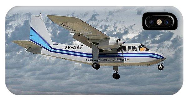 Islanders iPhone Case - Trans Anguilla Airways Britten-norman Bn-2b-21 Islander 113 by Smart Aviation