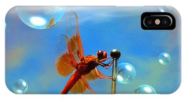 Transparent Red Dragonfly IPhone Case